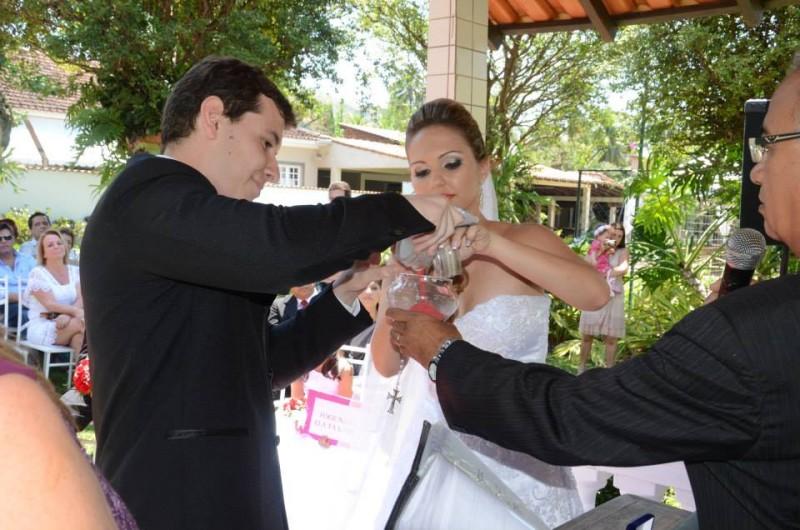 Foto ritual das areias no casamento Priscila e Gilson Sitio Vc e Eu